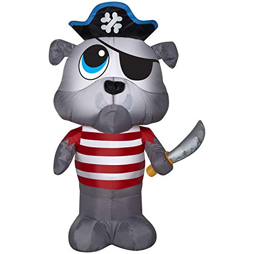 Gemmy Halloween Inflatable 4' Scurvy Pirate Bulldog Airblown -