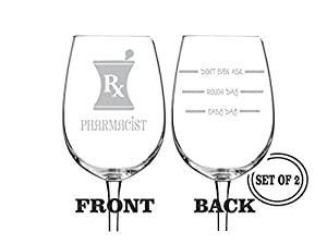 2 pharmacist etched wine glasses set of 2 engraved wine glasses gift for pharmacist funny wine glasses gift toasting glasses cocktail glass - Etched Wine Glasses