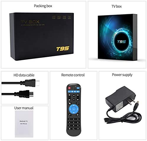 T95 Android 10.0 TV Box, YAGALA Android Box with Allwinner H616 Quad-Core 64bit ARM Corter-A53 CPU Mali G31 MP2 GPU 2GB RAM 16GB ROM 6K 4K Output 2.4GHz+5GHz WiFi 100M LAN Enternet BT5.0