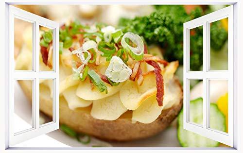 HUANYI Sandwich_Onions_Cucumber_Snack 3D Window View Decal Wall Sticker Decor Art Mural]()