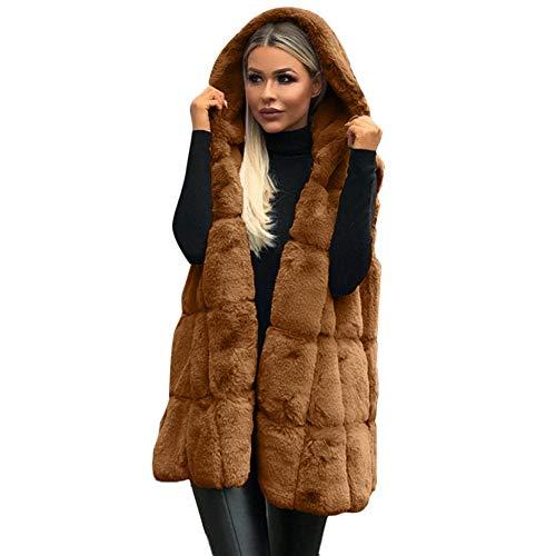 FTVOGUE Mujeres Fluffy Waistcoat Hoodie Cardigan Faux Fur Color sólido Chaleco de Longitud Media(M-Café)