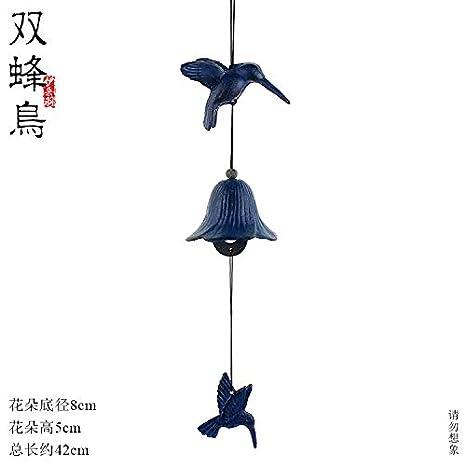WuSEN Cloches en Fer de Style Japonais en Fonte pour ext/érieur Double Colibri Blue Two Hummingbirds Temples Cadeaux et pendentifs
