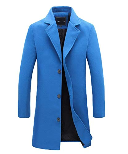 Outerwear Coat Long Huixin 1 Apparel Collar Color Men's Jackets Slim Jacket Warm Winter Blau Sleeve Solid Jacket Lapel Fit Coat Winter 55AZ4q