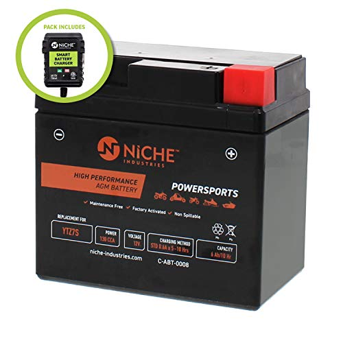 NICHE AGM Replacement Battery for YTZ7S with 12V 750mA Maintainer Charger| 130CCA, 12V, Factory Activated | ATV, Motorcycle, Scooter | For Honda, Yamaha, KTM & more