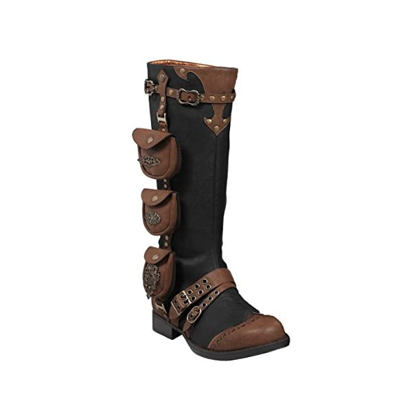 Womens 1 Inch Heels Black Knee High Boots Steampunk Brown Straps Costume Shoes 3