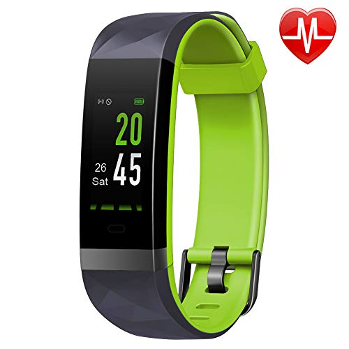 Lintelek Fitness Tracker Color Screen Heart Rate Monitor Activity Tracker, Calorie Counter, Smart Wristband, Pedometer IP68 Waterproof Stable Connection Kid Women Men, Android iOS (Bright Green)
