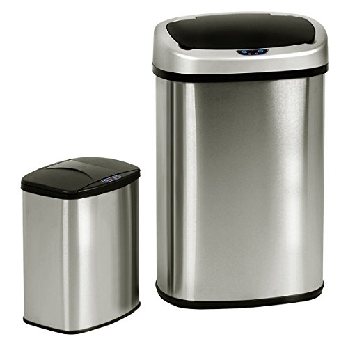 Eight24hours Set of 2 Touch-Free Motion Sensor Bin Trash Can 13 & 2.3 Gallon Stainless Steel + FREE E-Book