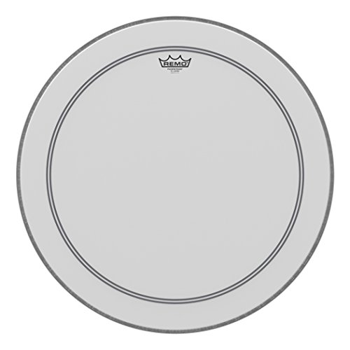 - Remo P31124-C2 Coated Powerstroke 3 Bass Drum Head (24-Inch) - White Falam Patch