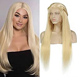 Leeven Long Straight Lace Front Wig #613 Blonde Human Hair Wigs for Women with Baby Hair 13x4 Glueless Lace Frontal Brazilian Virgin Human Hair Wigs 130% Denisty 24 Inch