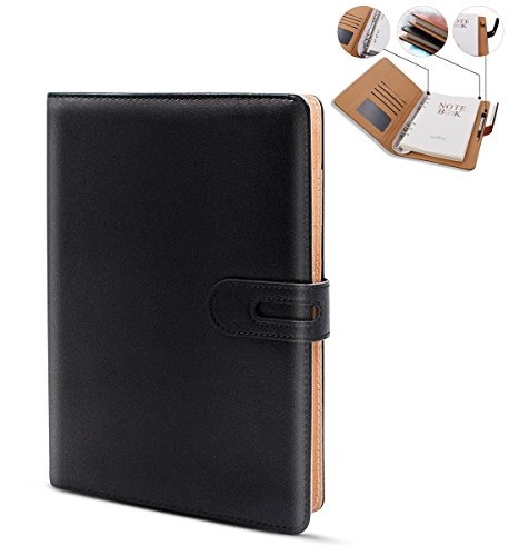 Notebook, Faux Leather Journal, A5 Journal Notebook With Magnetic Closure, Wirebound Notebook with Spiral, Pen Loop, Card Holder, College Ruled Paper, 200 Pages, 6.8 x 9.2 inches … (Black)