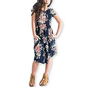 Best Epic Trends 410o0a-q4ZL._SS300_ 21KIDS Girl Maxi Dress Kids Floral Casual 3/4 Sleeve Dresses with Pocket for Girls 6-12T