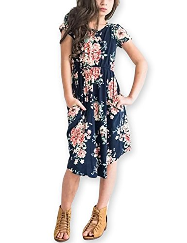 Girls Floral Maxi Dress,Kids Casual Short Sleeve T Shirt Dresses Pocket for Toddlers 6-12 -