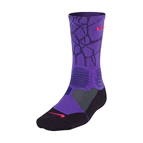 Nike Lebron Men's Hyper Elite Cushioned Crew Socks Large (shoe size 8-12) (Black)