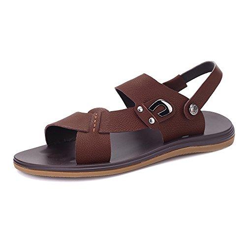 Brown de Brown Zapatos respaldo sandalias clásico de de cuero los sin Zapatillas ajustables 38 imitación para playa Size EU Color hombres hombre suela de de antideslizante Zapatillas ocasionales xwqpwrgf0