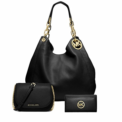 Michael Kors Stylish Waterproof Fulton Large Leather Shoulder Bag Bedford Small Crossbody bag Fulton Carryall Wallet 3Pcs Set Black