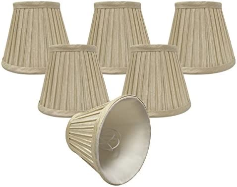 Royal Designs, Inc CSO-1032-5BG-6 Royal Designs Chandelier Lamp Shades-3 x 5 x 4.5 -Pleated Empire-Beige-Clip-On-Set of 6, 6 Piece