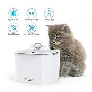 DADYPET Bebedero Gatos, Fuente silencioso para Gatos 2L Bebedero Automático Fuente de Agua para Mascotas Gatos Perros 3 Modos Ajustable con 2 Filtros de Carbón Activado (Blanco)