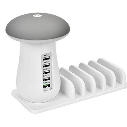5 Ports 핸드폰과 iPad를위한 탁상용 램프 충전으로 USB 충전 스..