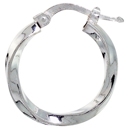 Sterling Silver Twisted Tube (Sterling Silver Italian Hoop Earrings 20mm Twisted Tube 1/8 inch wide)