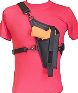 Tanker Style Cross Body Holster for Beretta 92, Colt 45, Sig Sauer 226 & Similar Size Pistols - Right Handed
