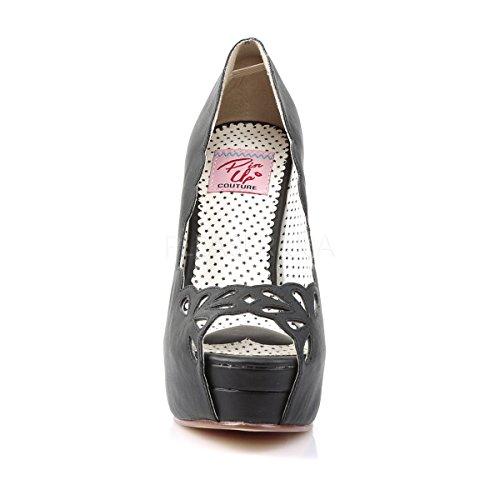 Pin Up Couture Damen Plateau Peep Toe Pumps Bella-30 schwarz Schwarz