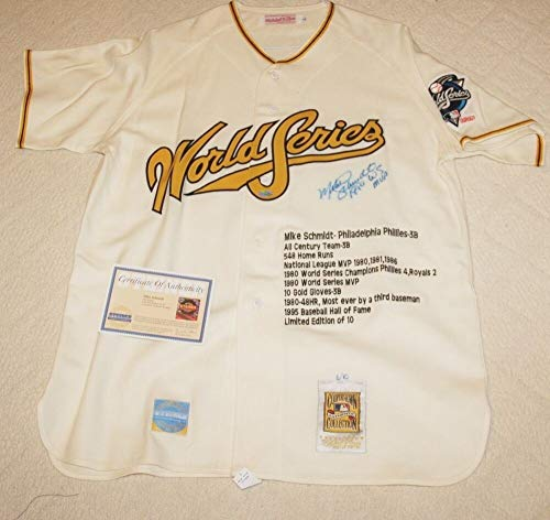 Mike Schmidt Stats - Mike Schmidt Autographed Signed Mitchell & Ness Stat Jersey Steiner 6/10 - Authentic Memorabilia