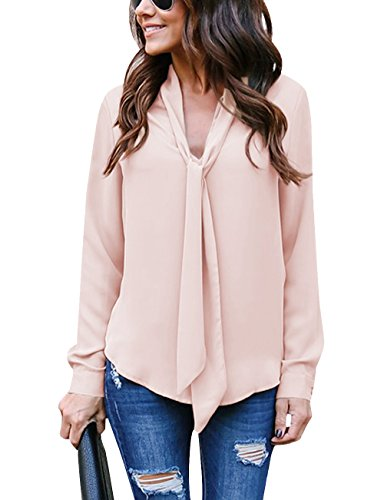 (Yidarton Women's Cuffed Long Sleeve Casual V Neck Chiffon Blouses Tops with Tie(Pinkish Khaki,S))