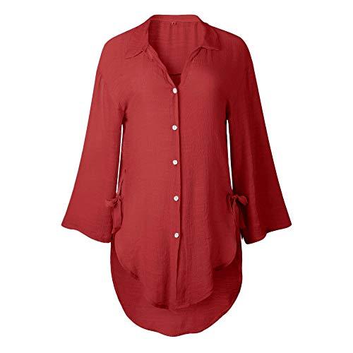 LaChe Femme Women for Dames Manches Manches Hiver Chemisier Longues DContract Longues Unie Rouge Couleur Tops Manteau xIqPwYW