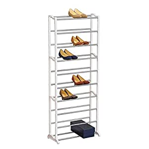 Lynk 30 Pair Shoe Rack - 10 Tier - Shoe Shelf Organizer - White