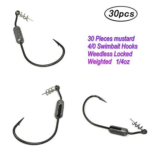 Wtrees Best Fishing Hooks for Bass (4/0 1/4oz Locked Swimbait Hooks, Hooks) (0.25 Ounce 4/0 Hooks)