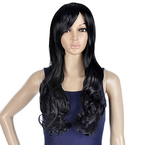 EPYA Women's Cosplay Curly Wavy Long Costume Wigs Black (Joker Jack Child Costume)