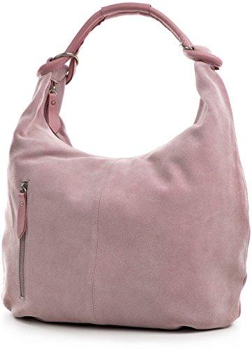 CNTMP - bolso para señora, bolsos hobo, bandoleras, bolsos de tendencia, gamuza, bolso de cuero, din-a4, 44x36x4cm (l x an x a) Lila