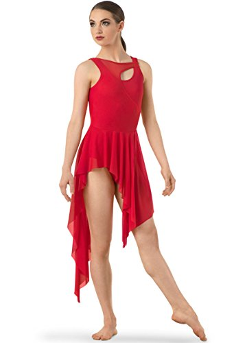 Popular Dance Costume Companies (Balera Dress Girls Costume For Dance Asymmetrical Mesh Dress With Attached Leotard And High Low Skirt Red Child Small)