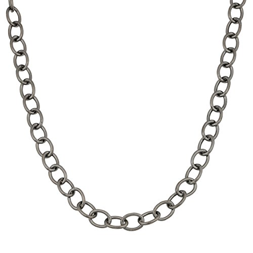 - Kooljewelry Black Ruthenium Over Sterling Silver Forzatina Link Chain Necklace (5.3 mm, 30 inch)