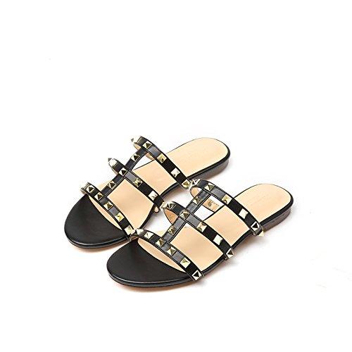 Chanclas Casual Zapato Mujeres Negro Tacón De Fuera Plano Bajo Para Abierto Scloths aqApda