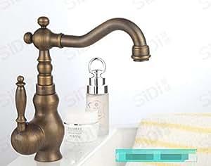 Continental cobre antiguo lleno de lavabo grifos calientes y fríos/fregadero de la cocina retro se puede girar verduras grifo del lavabo-B