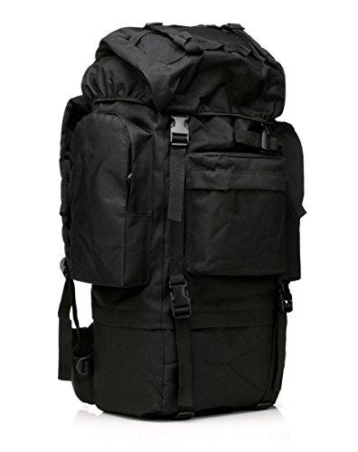65L Reise Sport Outdoors Camping Wandern Bag Kampf Military Tactical Bergsteiger Rucksack mit Regen Abdeckung für Männer Große (Black)