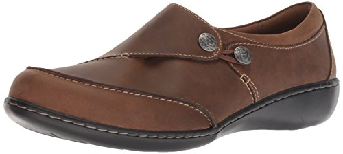 CLARKS Women's Ashland Lane Q Loafer, Dark tan Leather, 090 M US