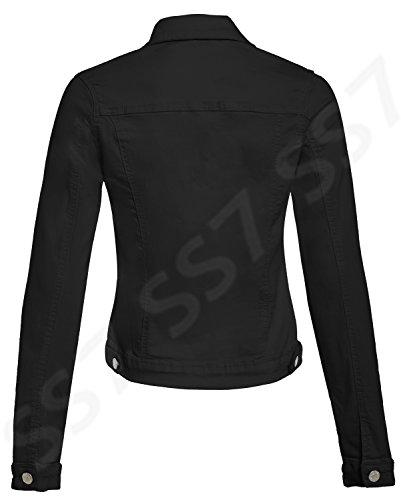 femmes 14 Noir 8 en Veste SS7 nouvelles Tailles jeans Extensible HWxP6Anqw5
