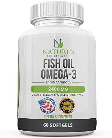 Fish Oil 2400mg – Omega 3 Supplement High in DHA & EPA – Triple Strength Fatty Acid Brain Support - Burpless – from 100% Sea Harvested Pelagic Fish – Non-GMO - 60 Softgels