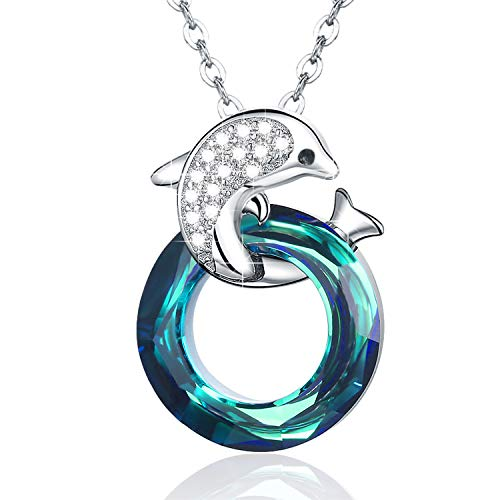 Stocking Stuffers Dolphin Necklace 925 Sterling Silver Dolphin Jewelry Blue Crystals Circle Pendant Necklace for Women Girls