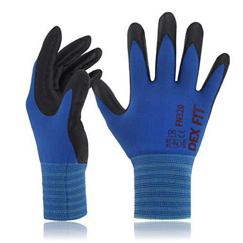 (DEX FIT Gardening Work Gloves FN320, 3D Comfort Stretch Fit, Power Grip, Thin Lightweight, Durable Foam Nitrile Coating, Machine Washable, Blue Small 3 Pairs Pack )