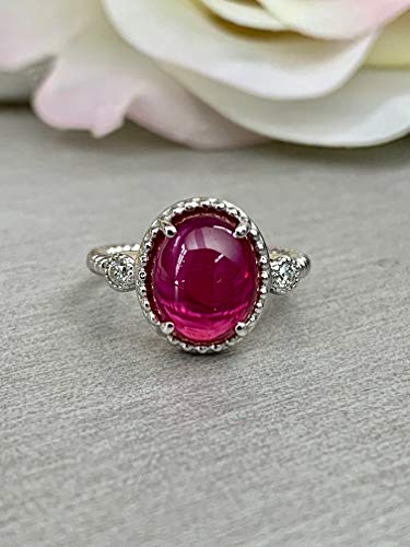 Cabochon Vintage Style Ring/Oval Ruby Ring/Unique Engagement Ring/Ladies Ring / 14k White Gold / #6151 ()