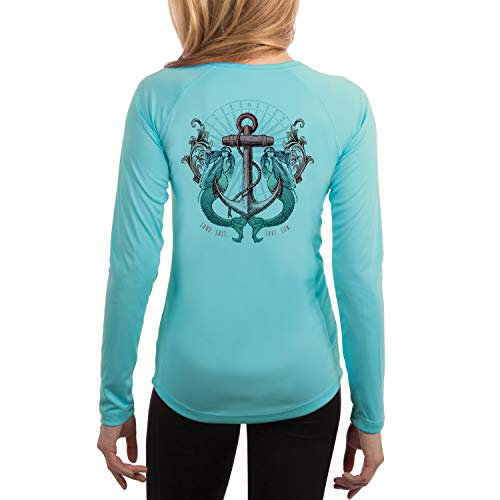 - SAND.SALT.SURF.SUN. Sailing Vintage Mermaid Ladies Women's UPF 50+ Long Sleeve T-Shirt X-Large Water Blue