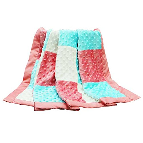 Mila Coral, Aqua and White Patchwork Minky Dot Blanket by Peanut Shell Farallon Brands BLPS-MIL