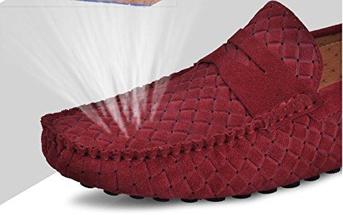 Happyshop (tm) Mens Swede Läder Mockasin Loafers Kör Skor Komfort Slip-on Öre Dagdrivare Lägenheter Vinröd (urholka)