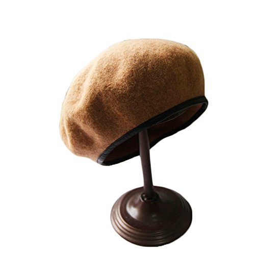 MineSign Wool Beret Women French Style Berets Classic Solid Color Beanie Hat Cap, Camel