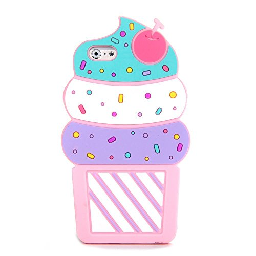 Soft Silicone Ice Cream Cone Case for iPhone 5/5s/SE iPhone5 iPhone5s iPhone SE 3D Cartoon Rubber Grip Rubberized Material Fruit Design Protective Cute Fun Lovely Special Summer Kids Teens Girls Boys