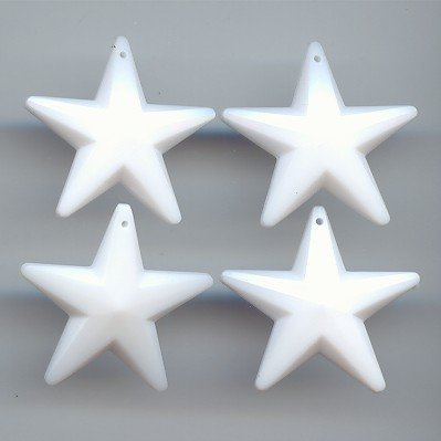 WHITE 28MM MULTI FACETED STAR PENDANTS - Lot of 12 (Star Pendant Faceted)