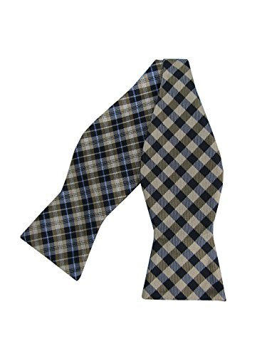 Countess Mara Men's Reversible Gingham Plaid Bow Tie (One Size, Taupe) (Reversible Bow Tie)